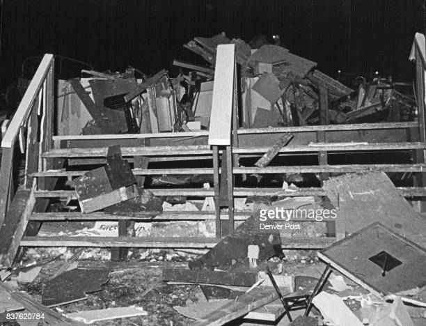 Steps on the south side of the demolished building lead on to rubble The twostory heavy timber and glass structure was located at the base of Peak No...