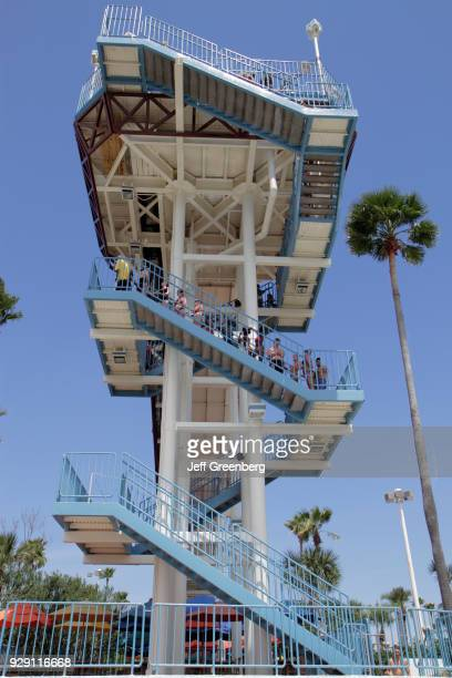 Steps to a slide at the Wet'n Wild water park