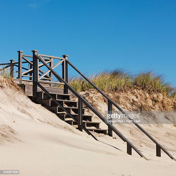 steps to beach, sag harbor, new york, usa - sag harbor stock photos and pictures