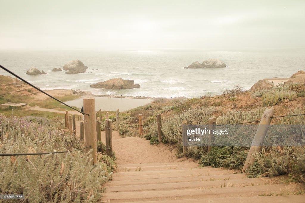 Steps to Sutro Baths, San Francisco, California, USA : Stock Photo