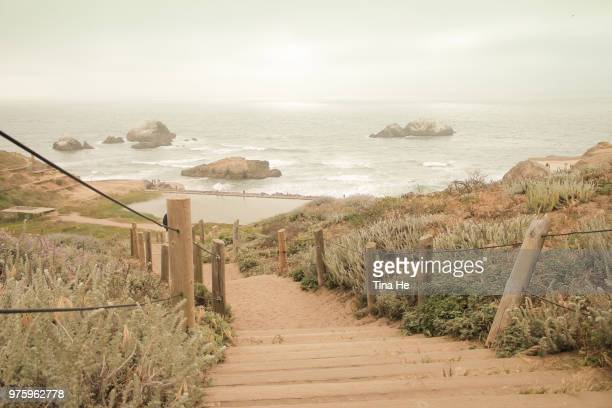 steps to sutro baths, san francisco, california, usa - north pacific ocean stock photos and pictures