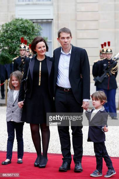 Stepson of President elect Emmanuel Macron Sebastien Auziere his wife Christelle and their children arrive at the Elysee Presidential Palace for the...