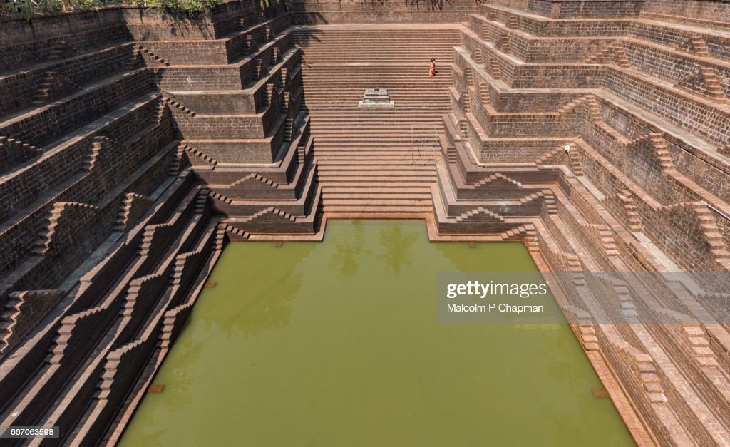 Stepwell and temple pond at Sri Subrahmanya (Subramaniya) Temple,  Peralassery, Kannur : Stock Photo