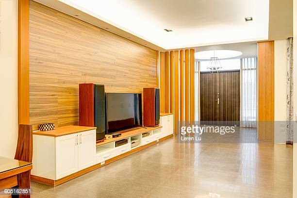 TV stereo acoustics on wooden cabinet