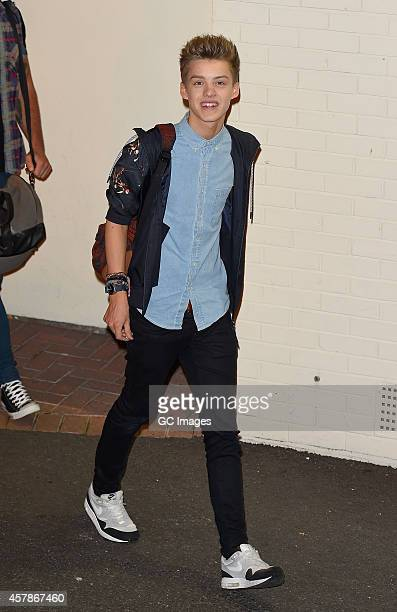 Stereo Kicks band member leaves the X Factor studio on October 25 2014 in London England