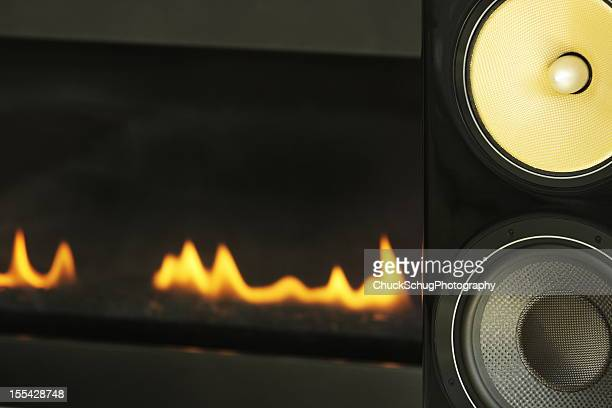 Stereo Music Speakers Fireplace Decor