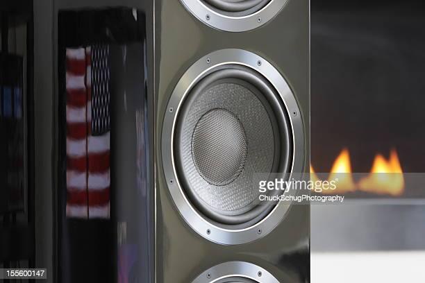 Stereo Speaker Fireplace American Flag