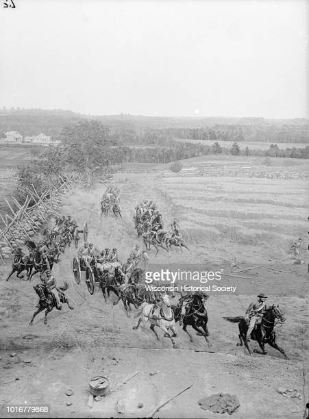 Stereograph from the Chicago Panorama of the Battle of Gettysburg Representing Pickett's Charge at 4 PM Wheelers Battery Coming into Action a section...