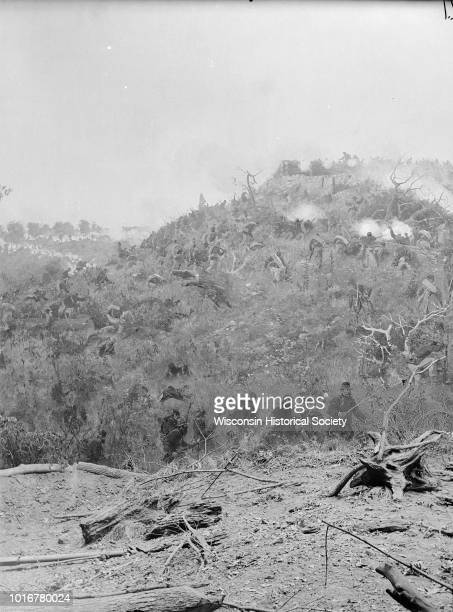 Stereograph from the Panorama of the Battle of Missionary Ridge Confederate 'Star Fort' General Sheridan in Foreground painted in 1885 Kansas City...