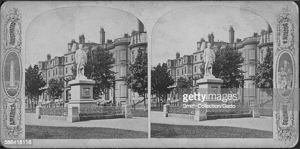 A stereograph of a statue of Alexander Hamilton the statue was a gift from a physician named Thomas Lee in 1865 he was not a trained artist and his...
