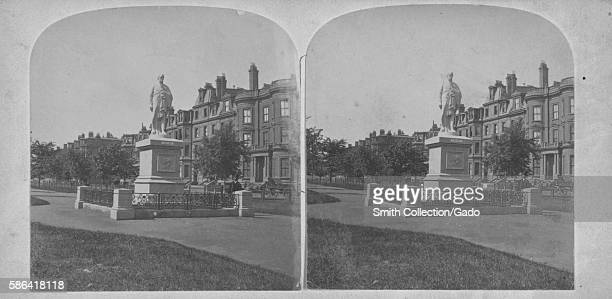 Stereograph of a statue of Alexander Hamilton, the statue was a gift from a physician named Thomas Lee in 1865, he was not a trained artist and his...