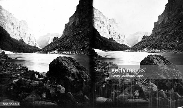 Stereograph of a view from inside the Grand Canyon near Lava Falls on the Colorado River Arizona 1875 Image courtesy USGS