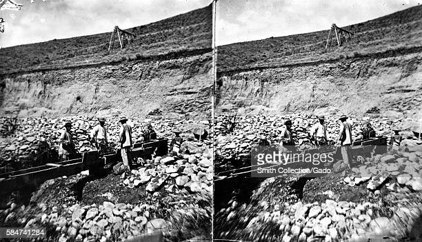 A stereograph of Chinese miners sluicing Madison County Montana 1871 Image courtesy USGS