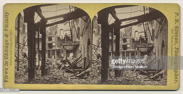 Stereograph of interior view of ruins of the Post Office and Customs House after the Great Chicago Fire Chicago Illinois 1871