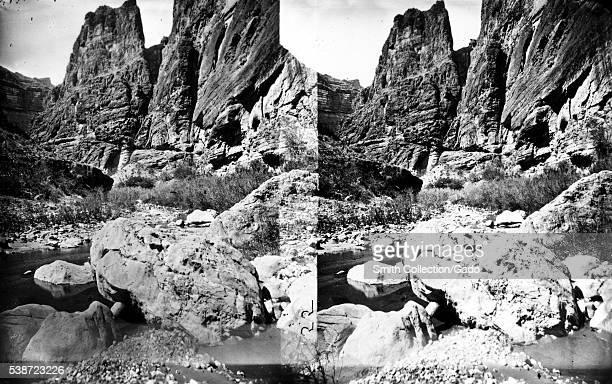 Stereograph of Kanab Canyon as seen from downstream near Pinnacle Arizona 1875 Image courtesy USGS
