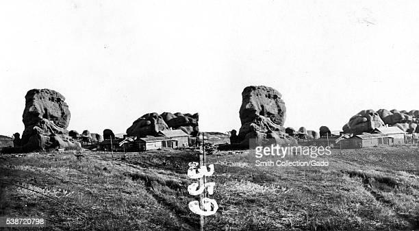 Stereograph of rock monuments near Larkspur Douglas County Colorado 1870 Image courtesy USGS
