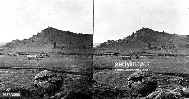 Stereograph of several wooden buildings south of Dale Creek in the Black Hills Wyoming 1869 Image courtesy USGS