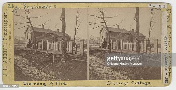 Stereograph of view of Patrick and Kate O'Leary's cottage, site of the beginning of the Great Chicago Fire , Chicago, Illinois, 1871.