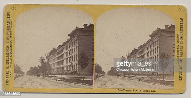 Stereograph of view of Terrace Row on Michigan Avenue Chicago Illinois late 1860s