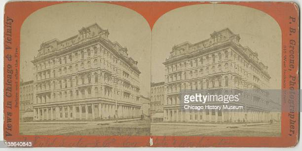 Stereograph of view of the Field, Leiter & Company store at the corner of State and Washington Streets, Chicago, Illinois, late 1860s.