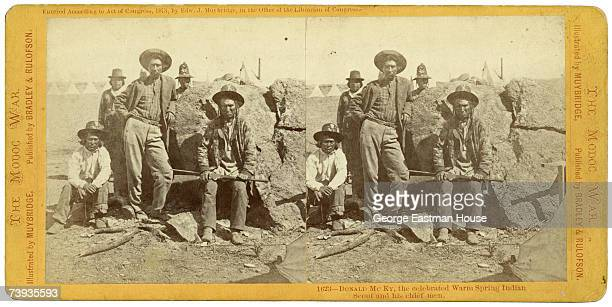 Stereograph shows Native American military scout Donald McKay of the Warm Springs Tribe and his men during the Modoc War California or Oregon 1873...