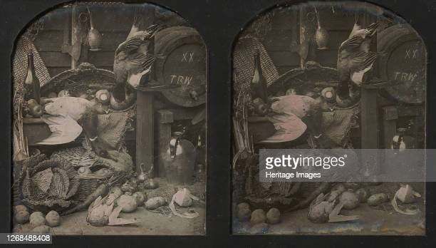 Stereograph Stilllife of Fowl with Initialed Barrel and Root Vegetables 1850s Artist Thomas Richard Williams