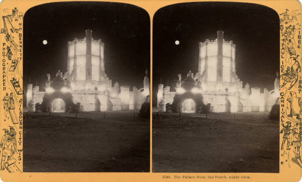 Stereographic view of the south entrance of the Saint Paul Winter Carnival palace Saint Paul Minnesota 1887