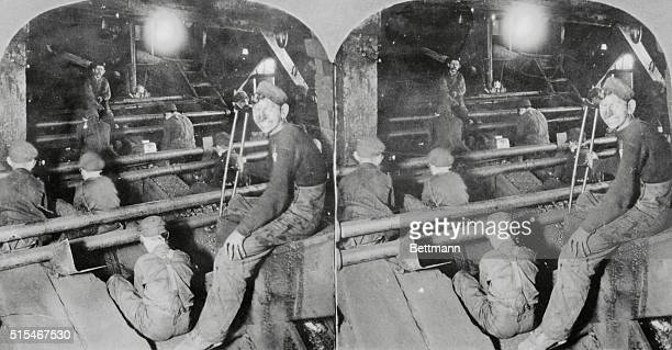 Stereoscope photograph showing children working in the anthracite coal mines picking slate