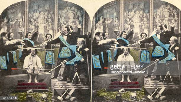 Stereoscopic colorized view of a Masonic rite shows a group of men in complicated livery as they hold drawn swords above another man's head France...
