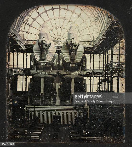 A stereoscopic daguerreotype showing the giant statues of Rameses II in the Crystal Palace based on the originals carved from the rockface at Abu...