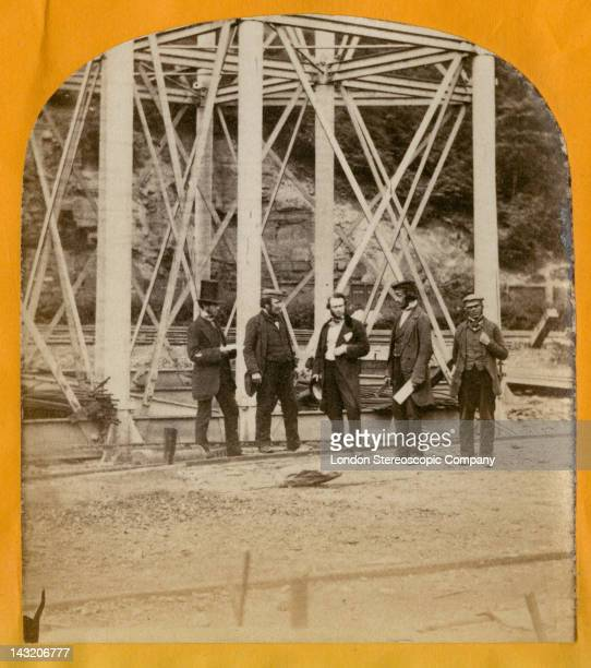 A stereoscopic image of a pier of the Crumlin Viaduct during its construction over the village of Crumlin in South Wales 1856 In the centre is...
