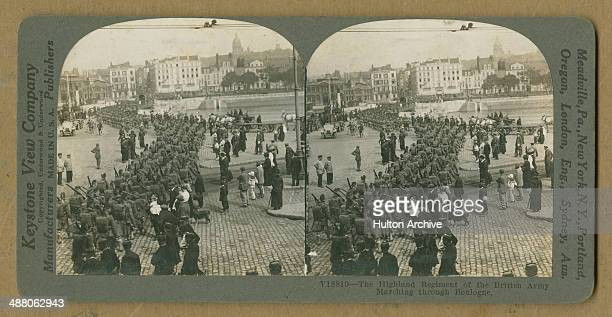A stereoscopic image of a Scottish regiment of the British Expeditionary Force arriving in Boulogne France at the start of World War I 13th August...