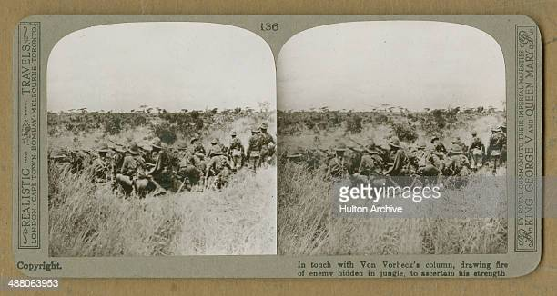A stereoscopic image of British colonial forces in action against German colonial troops under the command of General Paul von LettowVorbeck pobably...
