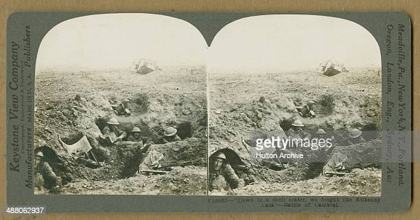 A stereoscopic image of British troops in a dugout during the Battle of Cambrai northern France World War I NovemberDecember 1917 In the background...