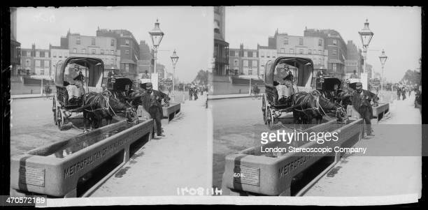 A stereoscopic image of cab and cart drivers stopping to let their horses drink from a trough near Marble Arch London circa 1890 The troughs are...