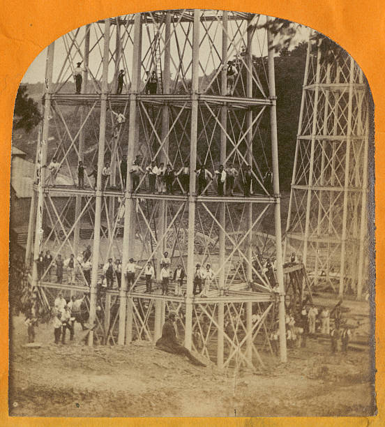 A stereoscopic image of construction workers crowding...
