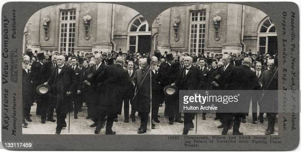 A stereoscopic image of French Prime Minister Georges Clemenceau US President Woodrow Wilson and British Prime Minister David LloydGeorge leaving the...