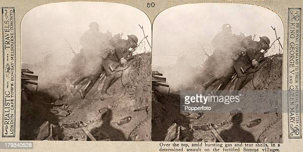 A stereoscopic image of soldiers going over the top during the Battle of the Somme during World War One circa 1916