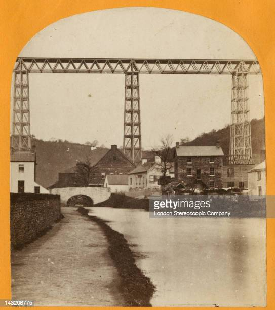 A stereoscopic image of the Crumlin Viaduct during its construction in South Wales seen from the south 1856 Underneath is the village of Crumlin and...