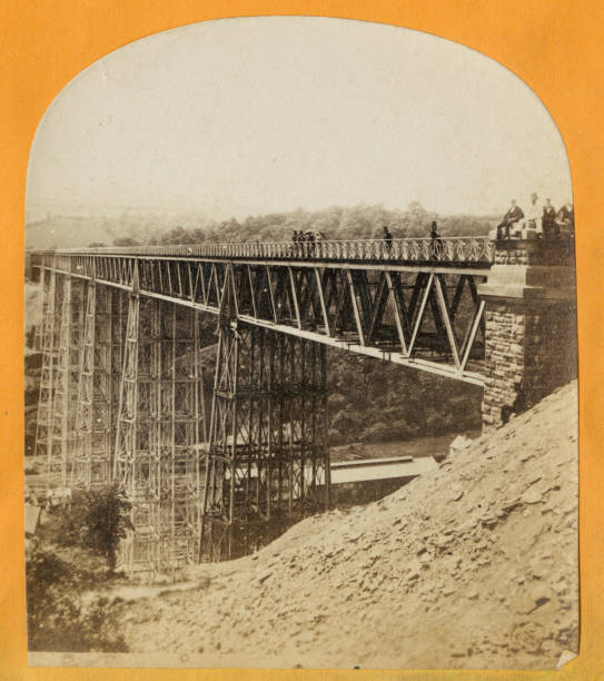 A stereoscopic image of the Crumlin Viaduct during...
