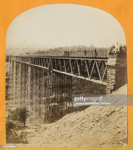 A stereoscopic image of the Crumlin Viaduct during its construction in South Wales seen from the southeast bank 1856 Work began on the railway...