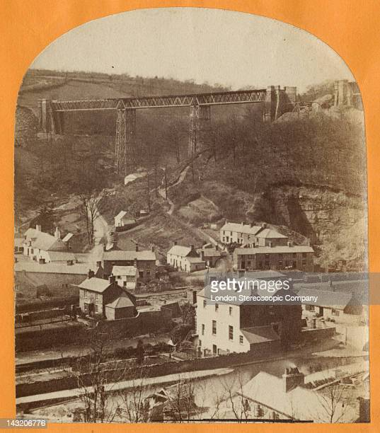A stereoscopic image of the Crumlin Viaduct during its construction over the village of Crumlin in South Wales 1856 Pictured is the Kendon Valley...