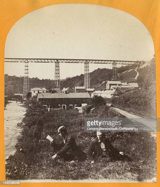 A stereoscopic image of the Crumlin Viaduct during its construction over the village of Crumlin in South Wales seen from the south 1856 The Ebbw...