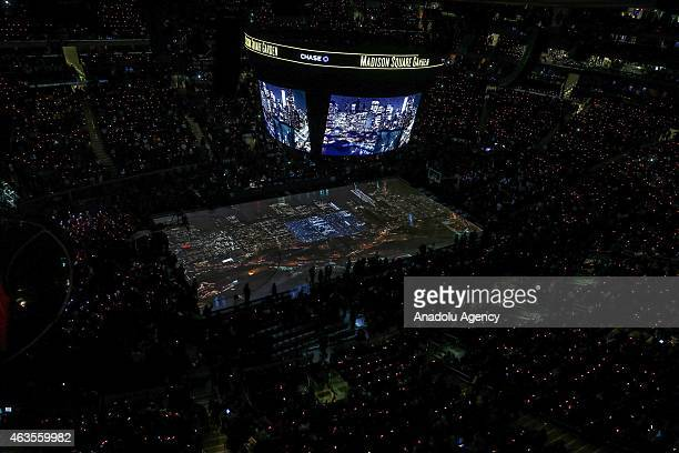 Stereoscopic images are showed during the basketball match between Western Conference AllStar Team and Eastern Western Conference AllStar Team as...