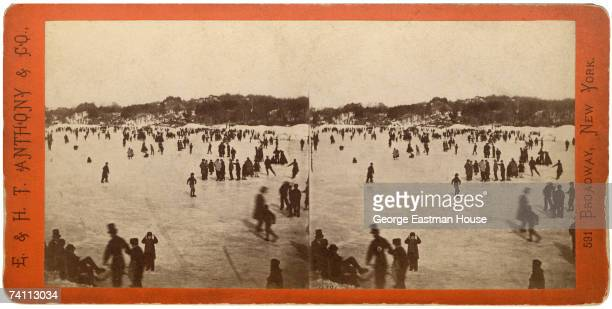 Stereoscopic images show a highangle view of people as they ice skate in Central Park New York New York late 1866