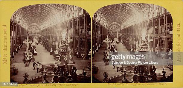 Stereoscopic photograph by London Stereoscopic and Photographic Company of an interior at the International Exhibition building in Cromwell Road...