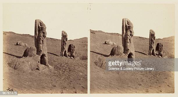 A stereoscopic photograph of a group of ruined statues in the sand at Wadi el Seboua Egypt taken in 1859 by Francis Frith This image is one a series...