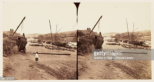A stereoscopic photograph of boats on the River Nile at Aswan Egypt taken in 1859 by Francis Frith This mage is one of a series of one hundred...