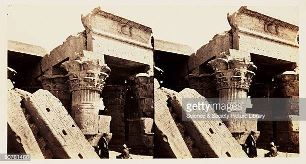 A stereoscopic photograph of columns at the entrance to the Temple of Kom Ombo Egypt taken in 1859 by Francis Frith This image is from a series of...