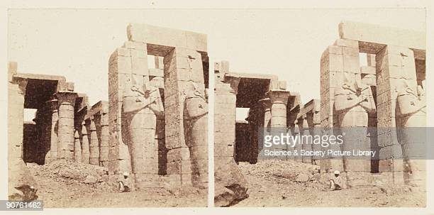 A stereoscopic photograph of Osiride columns at the Ramesseum Temple at Thebes Egypt taken in 1859 by Francis Frith This is one of one hundred...